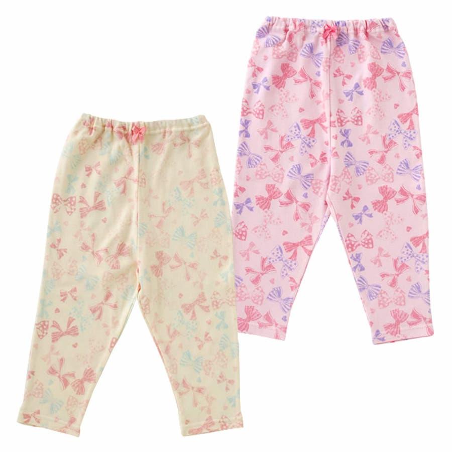 リボンいっぱいレギンス赤ちゃん 服 ベビー服 子供 下着 レギンス女の子 リボン柄 長ズボンスパッツ ズボン パンツ チャックルベビー 1