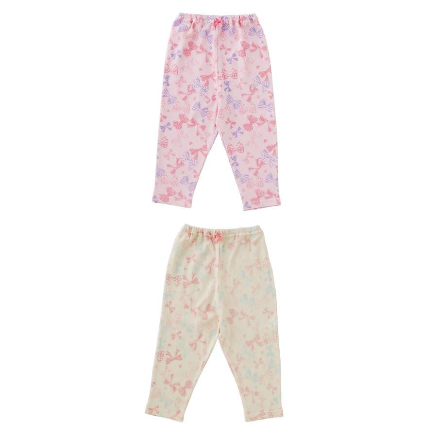 リボンいっぱいレギンス赤ちゃん 服 ベビー服 子供 下着 レギンス女の子 リボン柄 長ズボンスパッツ ズボン パンツ チャックルベビー 2
