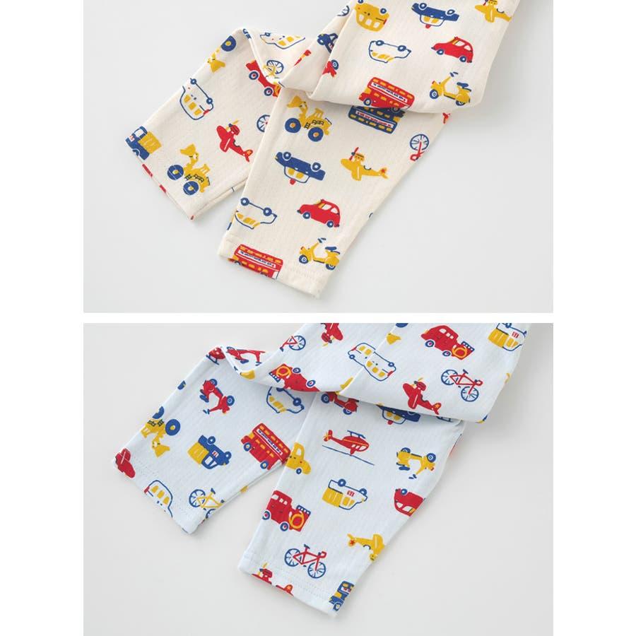 クルマいっぱいレギンス赤ちゃん 服 ベビー服 子供 下着 レギンス男の子 車柄 長ズボンスパッツ ズボン パンツ チャックルベビー 3