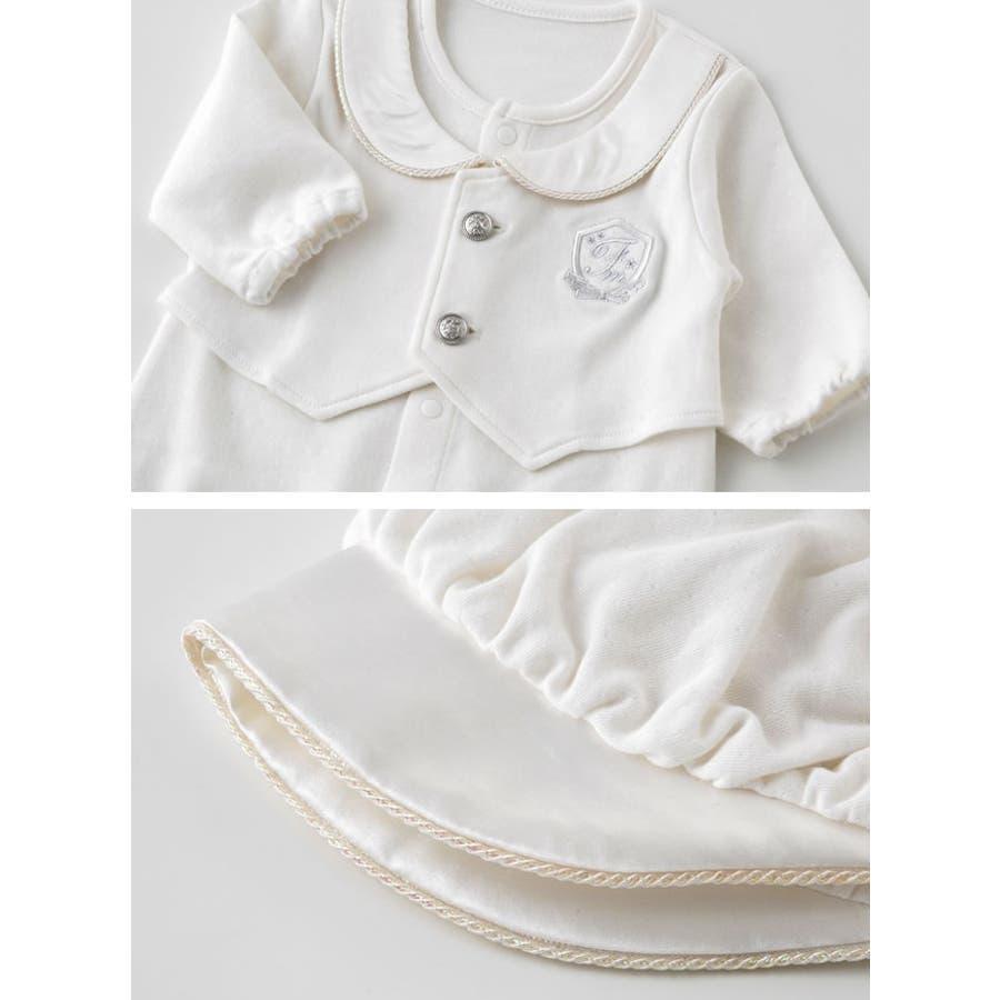 2fbd0f16c3ebc ピュアホワイト 帽子付き見せかけベスト新生児ツーウェイオール新生児服ベビー服赤ちゃん男の子