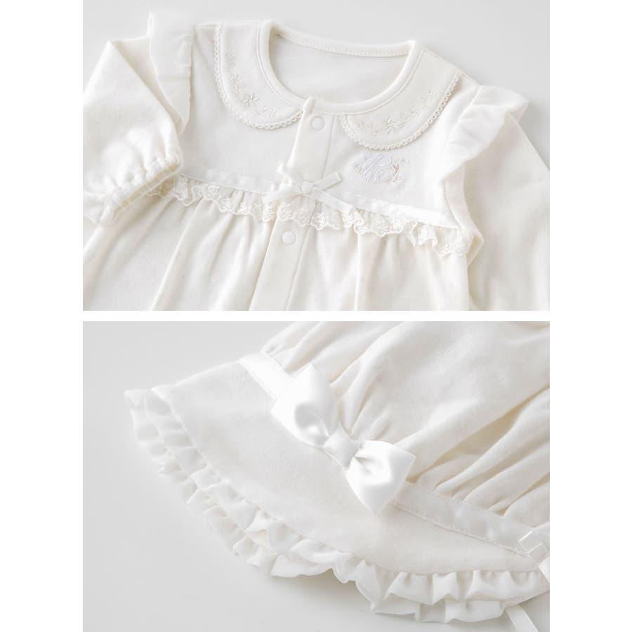 6fd27ab095356 ピュアホワイト 帽子付きセレモニー新生児ツーウェイオール新生児服ベビー服赤ちゃん男の子女の子