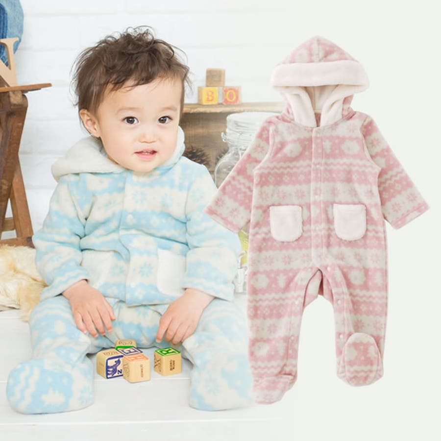 eee63c18bd668 北欧風プリントフリースフード付きバギーオール赤ちゃん 服 ベビー服 男の子 女の子出産祝い 冬