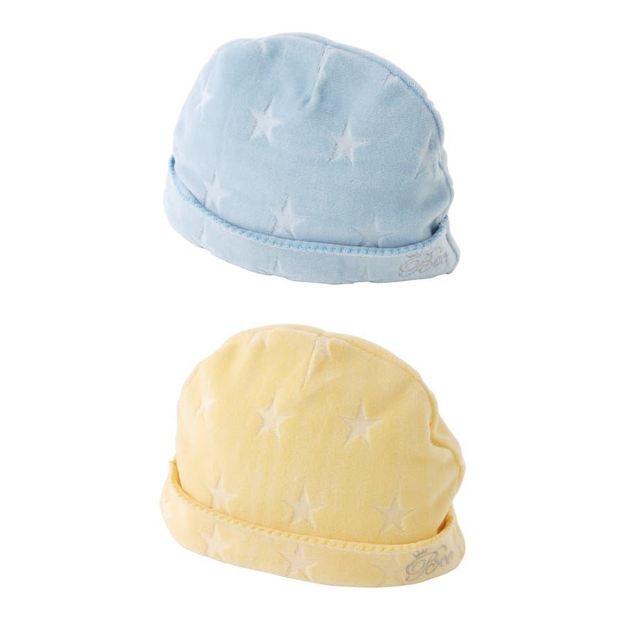 *ボンシュシュ*パステルベロア星型ベビー帽子帽子 キッズ ベビー 新生児 ベビー服 出産祝い男の子 冬 赤ちゃん 帽子 チャックルベビー 3