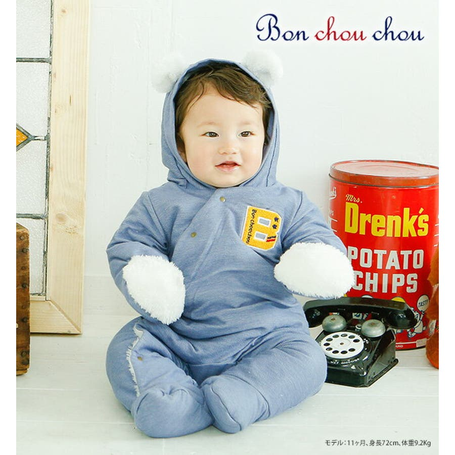 4fed576224415 ベビー服カバーオール男の子冬足つき足付きバギーオール赤ちゃんベビー服出産祝いギフト長袖前