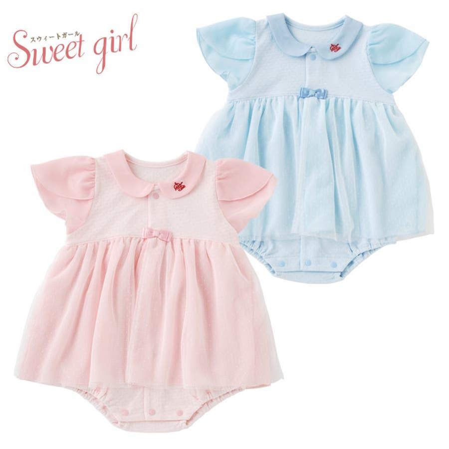 9cf602047d5d6 スウィートガール 半袖 ロンパース ベビー服 女の子 出産祝い ベビー 赤ちゃん 服 夏 ロンパス カバーオール ワンピース風