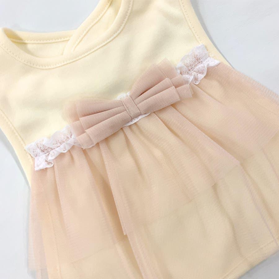 スタイ よだれかけ 女の子 かわいい ベビー 服 赤ちゃん ベビー服 ビブ 出産祝い ギフト プレゼント フリル りぼん リボンチュール 結婚式 ピンク アイボリー P8546E チャックルベビー 4