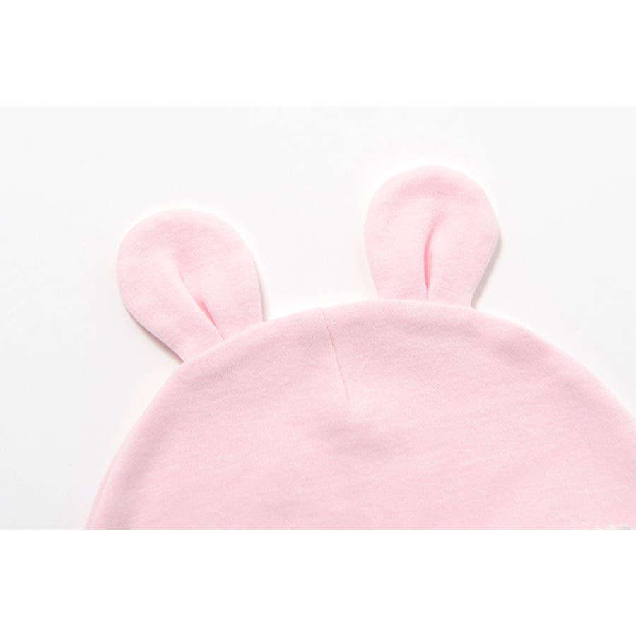 帽子 新生児 女の子 春 夏 ベビー服 うさぎ ウサギ うさ耳 うさみみ ピンク りぼん リボン ベビー 服 赤ちゃん 出産祝いギフト プレゼント 50cm 60cm ニシキ スウィートガール チャックルベビー P9807 7