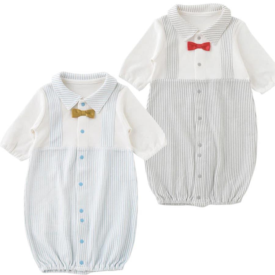 0131dc1aecd54 蝶ネクタイ重ね着風新生児ツーウェイオール男の子長袖前開き水色グレー5060P5107E新生児
