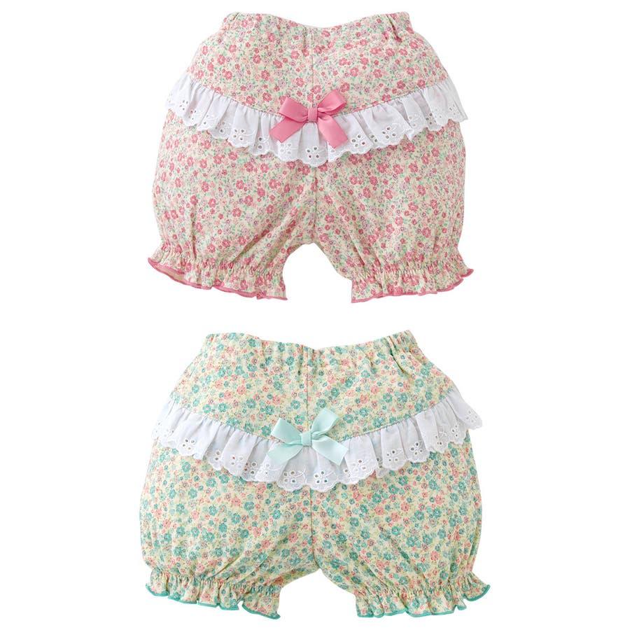 *スウィートガール*小花柄レース付きかぼちゃブルマ赤ちゃん 服 ベビー服 女の子 女児パンツ ズボン ブルマー チャックルベビー 2