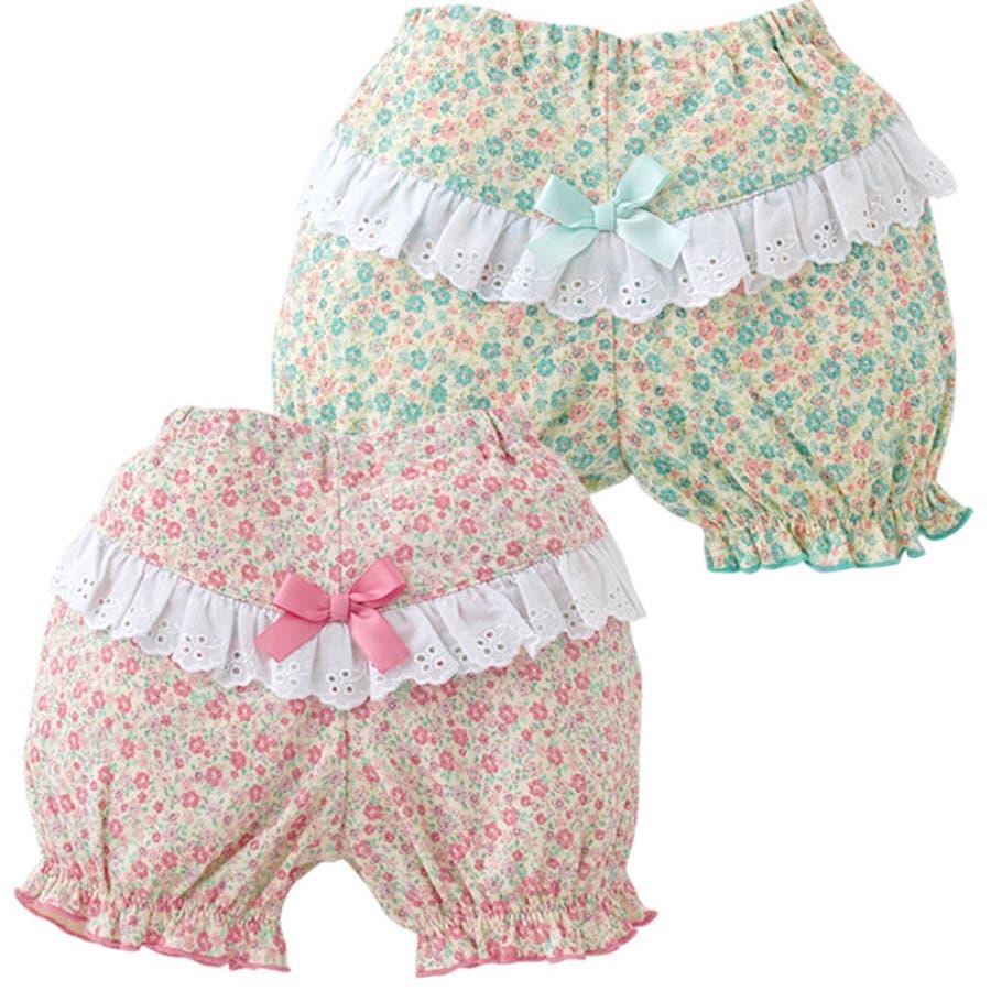 *スウィートガール*小花柄レース付きかぼちゃブルマ赤ちゃん 服 ベビー服 女の子 女児パンツ ズボン ブルマー チャックルベビー 1