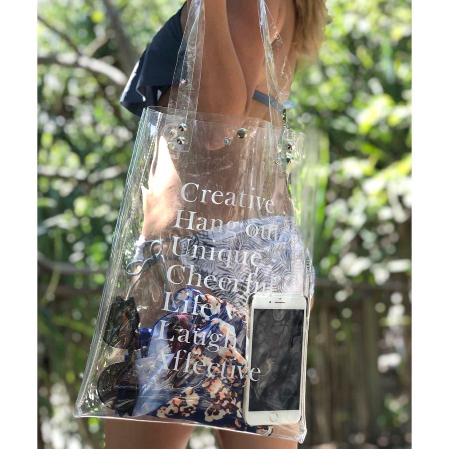 クリアバッグ オリジナル 透明 / レディース ファッション 夏 韓国 PVC PVCバッグ ハンドバックトートバッグオシャレかわいいシンプル ベーシック クリアバッグ 透明バッグ 水着バッグ プールバッグ cha77 1