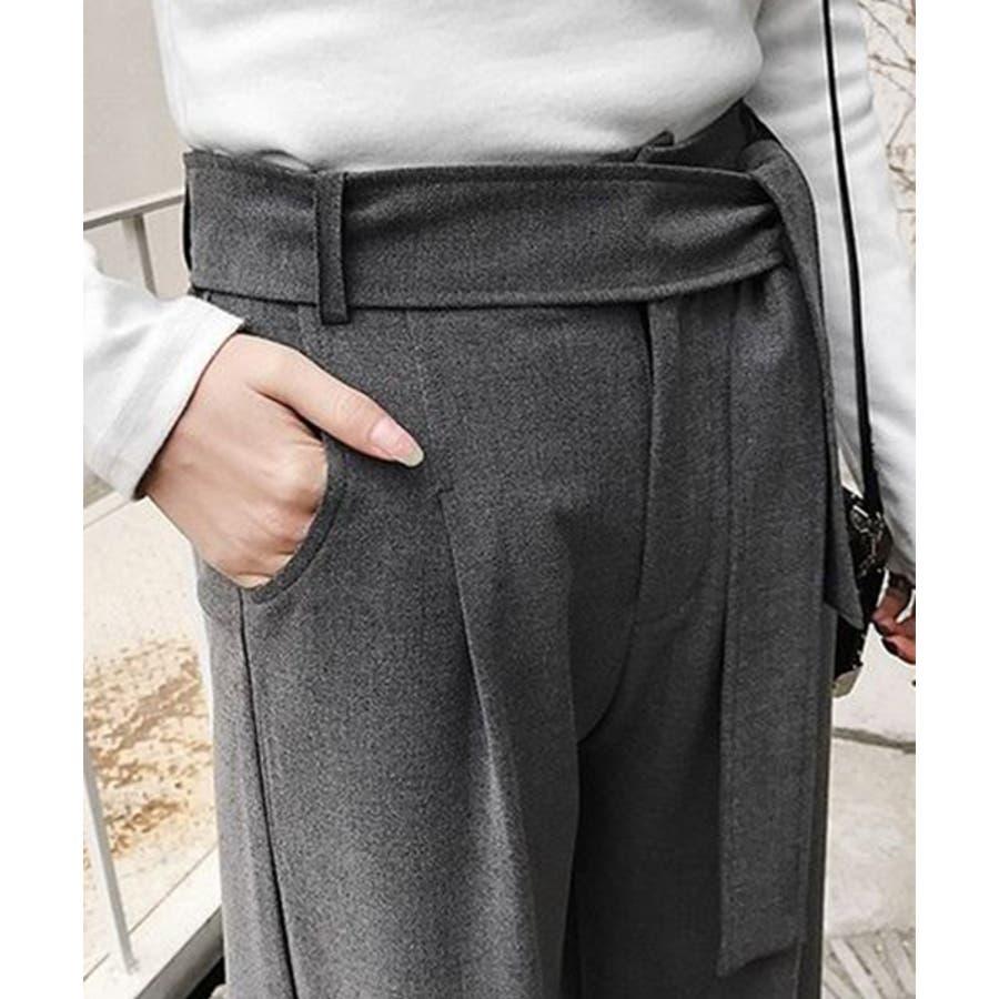 2019 ウエストリボン スラックス ロング パンツ レディース ボトムス パンツ ズボン 秋冬 ストレッチカプリ大きいサイズ 黒ボトムス 美脚 chw568 5