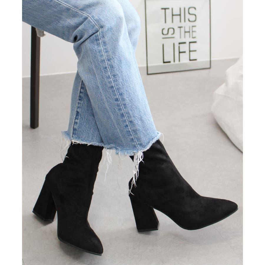 de84af014af9b 美シルエット ソックスブーツ レディース 黒 厚底 ブーツ ショートブーツ ヒール 靴 シューズ 大きいサイズ 小さい