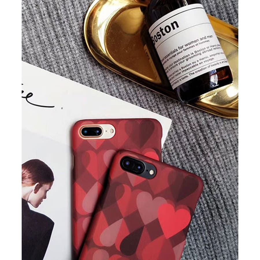 スマホケース iPhone7 iPhone8 iPhonex iPhone ケース iPhone6 6 6Plus 7 7Plus88Plus スマホケース x iPhoneケース iphoneカバー かわいい スマホカバー おしゃれ シックレッドピンクグラデーション グラデ ハート ランダムハート SE2 ipc152 2