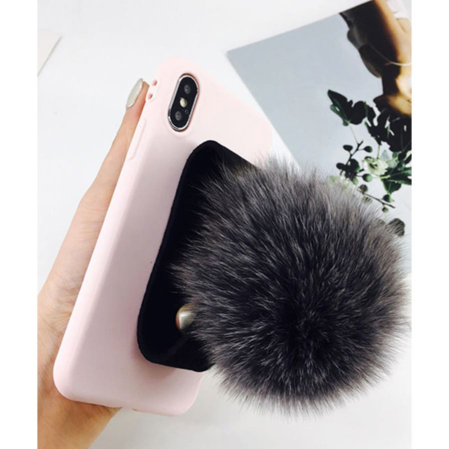 スマホケース iPhone7 iPhone8 iPhonex iPhone ケース iPhone6 6 6Plus 7 7Plus 88Plus スマホケース x iPhoneケース iphoneカバー かわいい スマホカバー おしゃれ ブラック ふわふわファー落下防止 ベルトストラップ SE2 ipc155 4