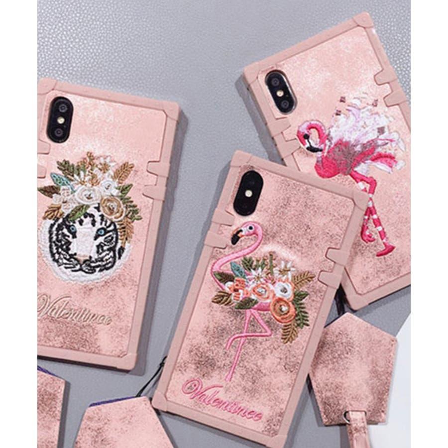スマホケース iPhone7 iPhone8 iPhonex iPhone ケース iPhone6 6 6Plus 7 7Plus88Plus スマホケース x iPhoneケース iphoneカバー かわいい スマホカバー 新作 おしゃれ スクエアフラミンゴタイガー アニマル 花 刺繍 ワンポイント ピンク SE2 ipc227 1