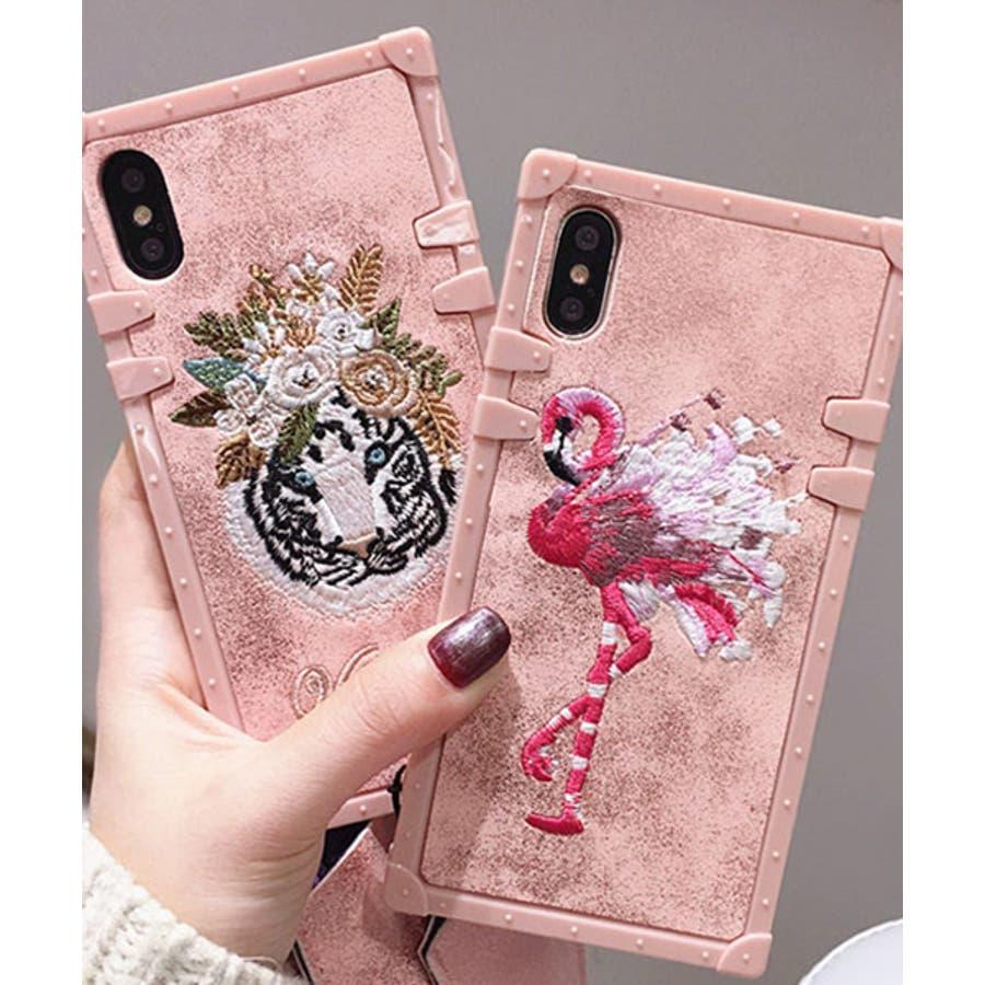 スマホケース iPhone7 iPhone8 iPhonex iPhone ケース iPhone6 6 6Plus 7 7Plus88Plus スマホケース x iPhoneケース iphoneカバー かわいい スマホカバー 新作 おしゃれ スクエアフラミンゴタイガー アニマル 花 刺繍 ワンポイント ピンク SE2 ipc227 2