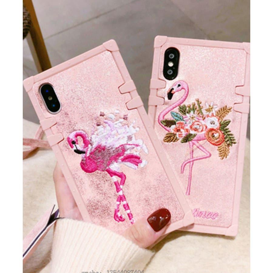 スマホケース iPhone7 iPhone8 iPhonex iPhone ケース iPhone6 6 6Plus 7 7Plus88Plus スマホケース x iPhoneケース iphoneカバー かわいい スマホカバー 新作 おしゃれ スクエアフラミンゴタイガー アニマル 花 刺繍 ワンポイント ピンク SE2 ipc227 3