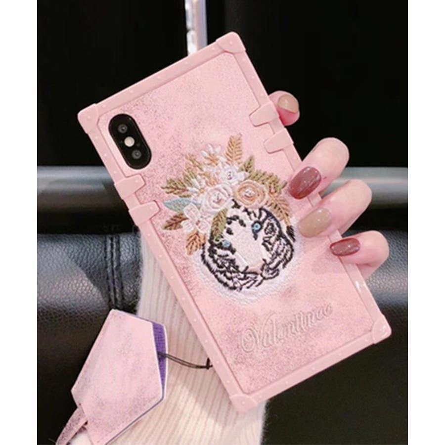 スマホケース iPhone7 iPhone8 iPhonex iPhone ケース iPhone6 6 6Plus 7 7Plus88Plus スマホケース x iPhoneケース iphoneカバー かわいい スマホカバー 新作 おしゃれ スクエアフラミンゴタイガー アニマル 花 刺繍 ワンポイント ピンク SE2 ipc227 4
