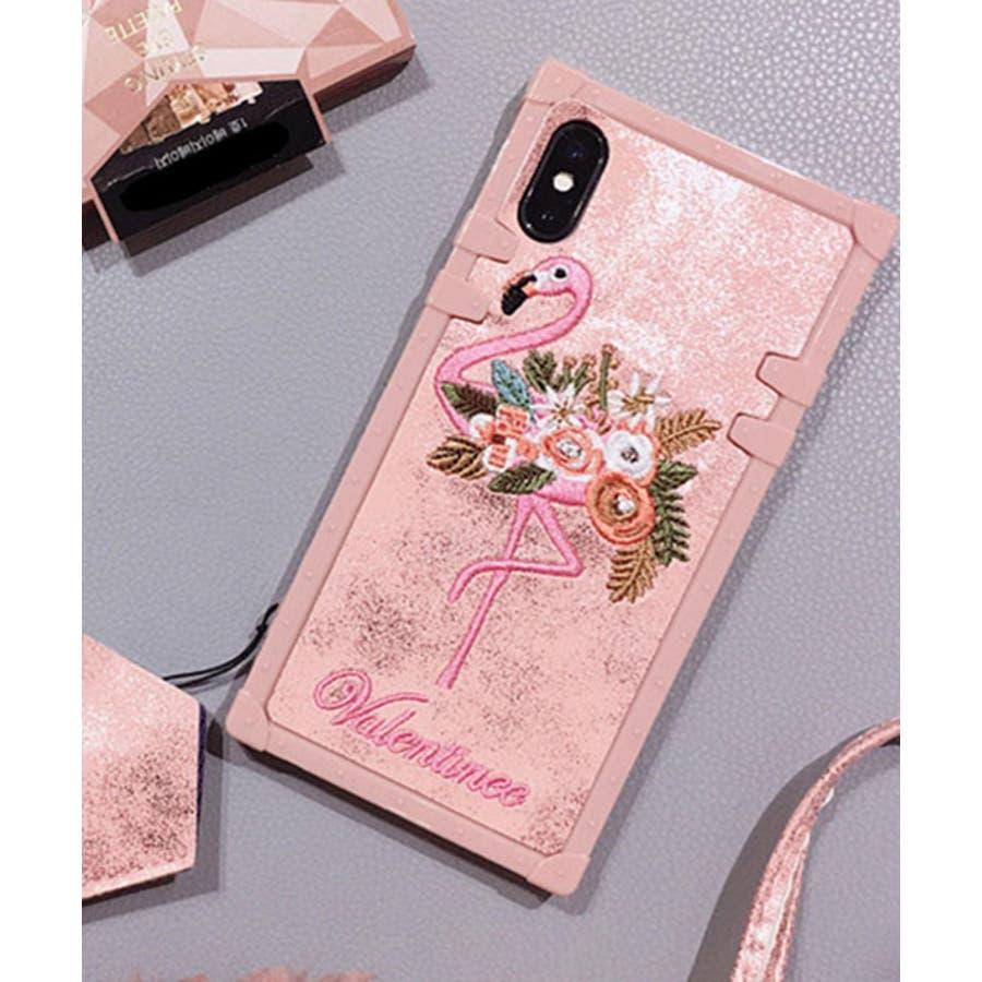 スマホケース iPhone7 iPhone8 iPhonex iPhone ケース iPhone6 6 6Plus 7 7Plus88Plus スマホケース x iPhoneケース iphoneカバー かわいい スマホカバー 新作 おしゃれ スクエアフラミンゴタイガー アニマル 花 刺繍 ワンポイント ピンク SE2 ipc227 6