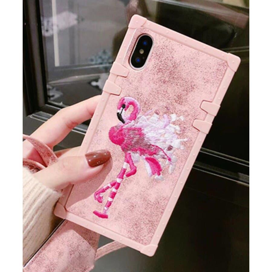 スマホケース iPhone7 iPhone8 iPhonex iPhone ケース iPhone6 6 6Plus 7 7Plus88Plus スマホケース x iPhoneケース iphoneカバー かわいい スマホカバー 新作 おしゃれ スクエアフラミンゴタイガー アニマル 花 刺繍 ワンポイント ピンク SE2 ipc227 7