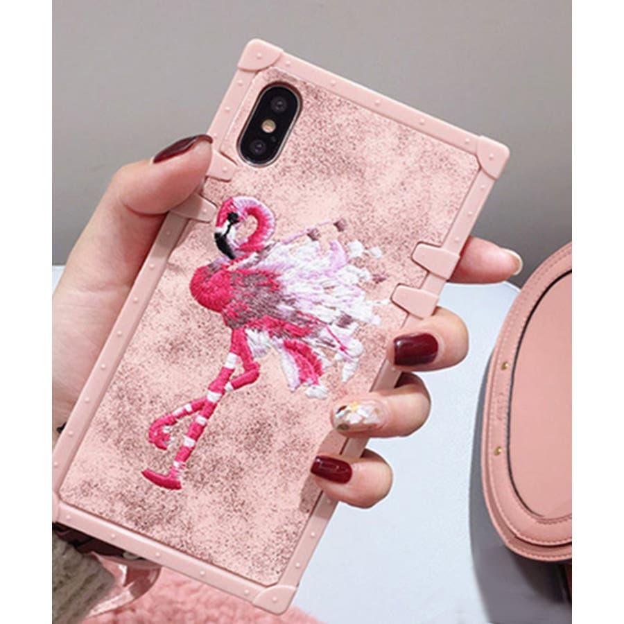 スマホケース iPhone7 iPhone8 iPhonex iPhone ケース iPhone6 6 6Plus 7 7Plus88Plus スマホケース x iPhoneケース iphoneカバー かわいい スマホカバー 新作 おしゃれ スクエアフラミンゴタイガー アニマル 花 刺繍 ワンポイント ピンク SE2 ipc227 91