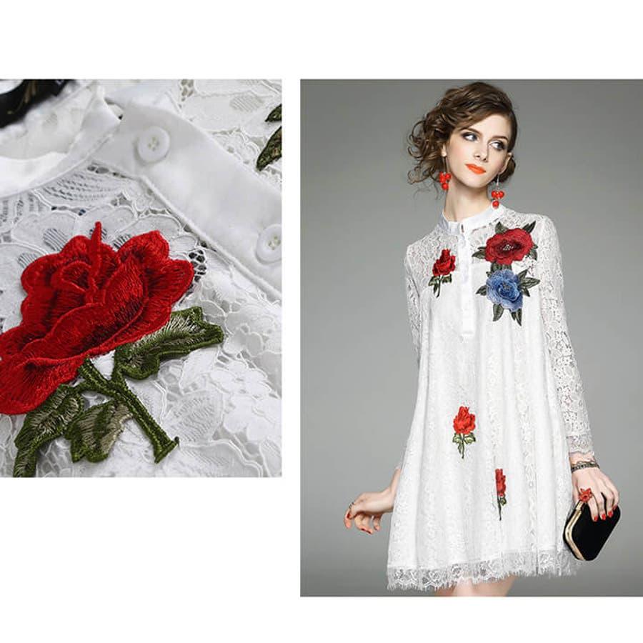 eb69a3ee66f2a 結婚式 ワンピース パーティードレス ミニドレス 総レース 刺繍 薔薇 ...