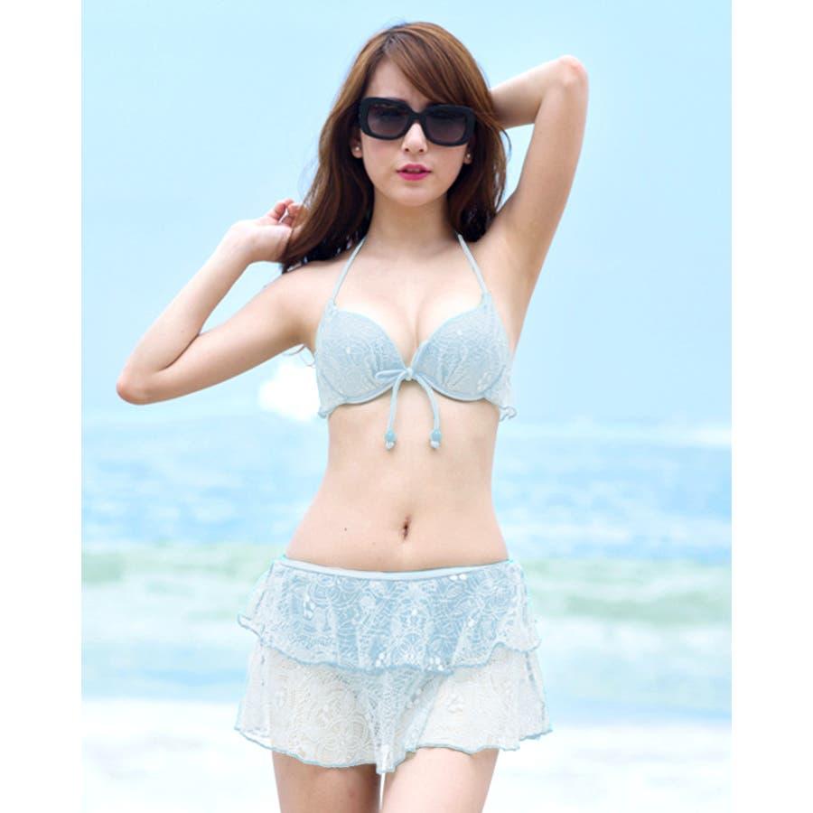 水着 レディース 水着セット ビキニ 韓国ファッション フリル レース ホルターネック 大きいサイズ 体型カバー ホワイト 白