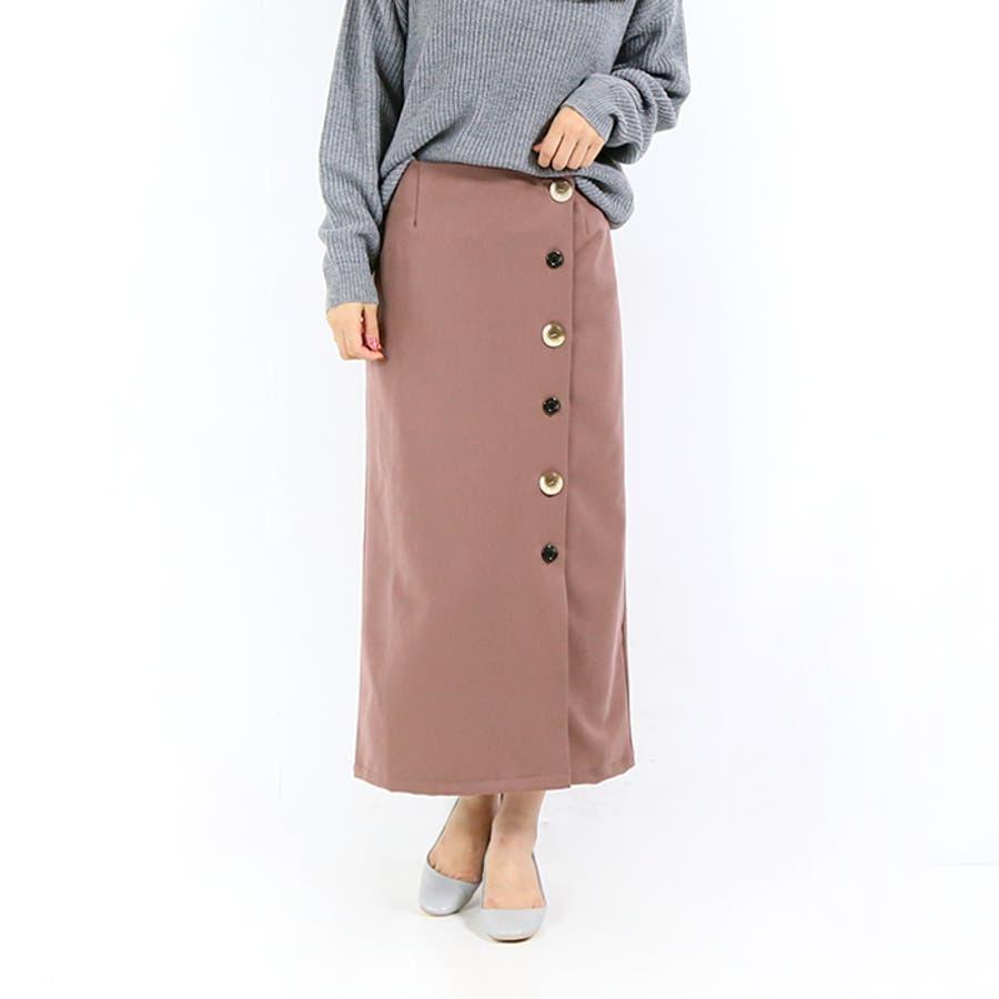 ボタンラップ風スカート◆スカート 冬物 タイトスカート 35