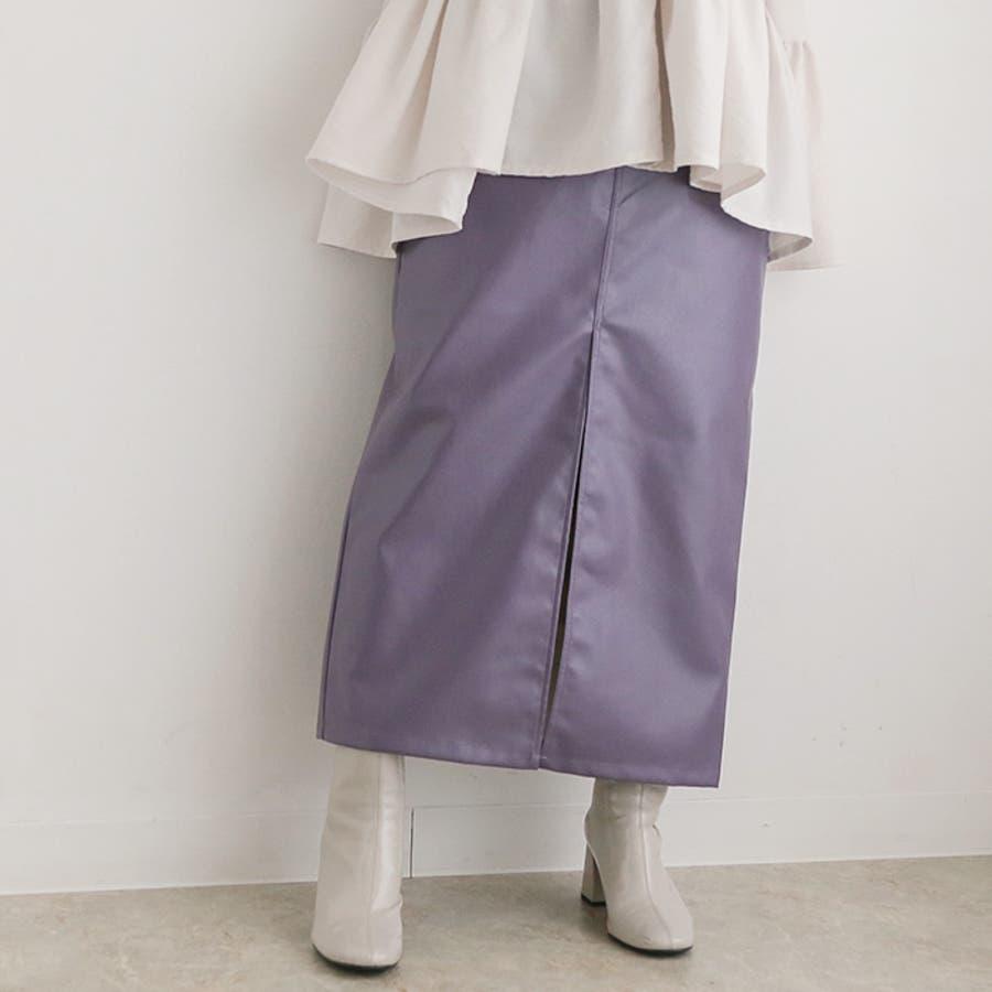 フェイクレザーストレートスカート◆スカート レザースカート ロングスカート 77