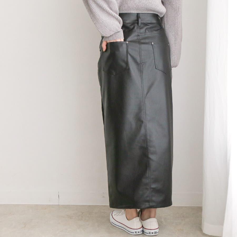 フェイクレザーストレートスカート◆スカート レザースカート ロングスカート 21