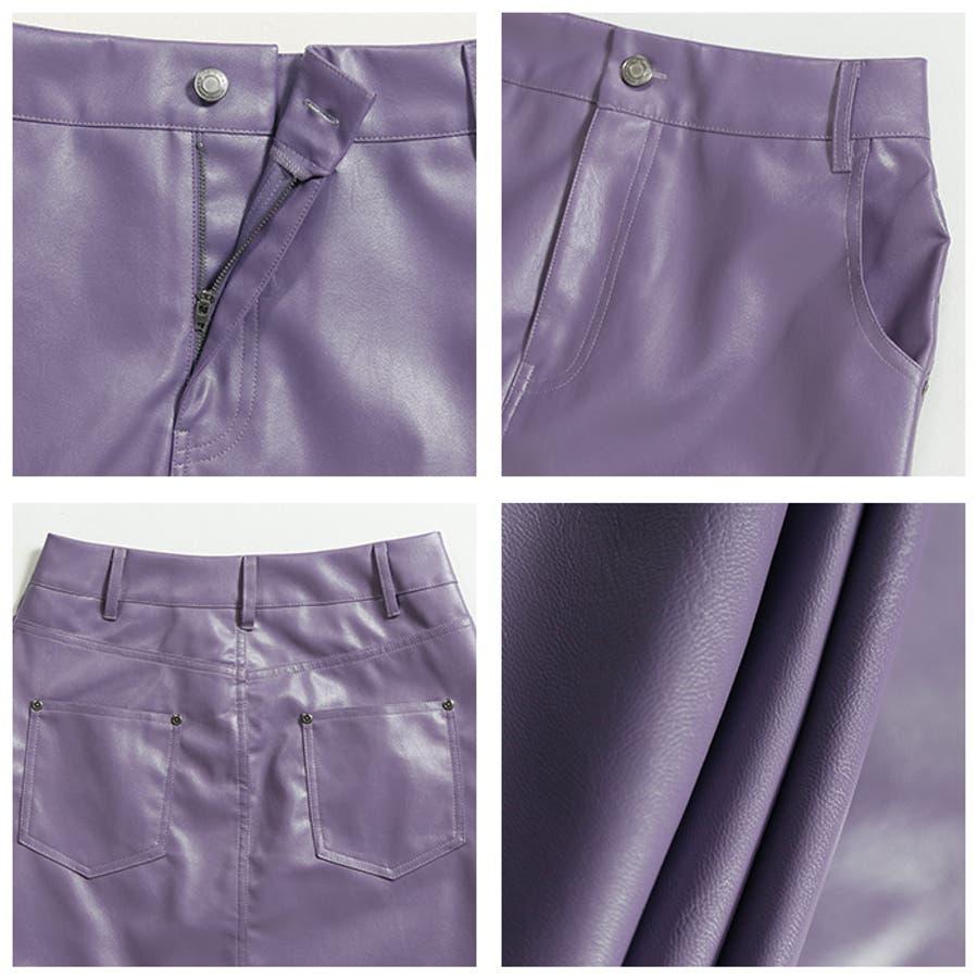 フェイクレザーストレートスカート◆スカート レザースカート ロングスカート 4