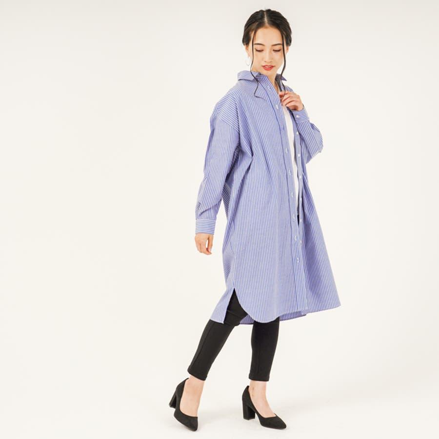 羽織り としても◎ ストライプ 柄 布帛 生地 ビッグ シルエット 長袖 レディース ロング シャツ ワンピース (3カラー) 2