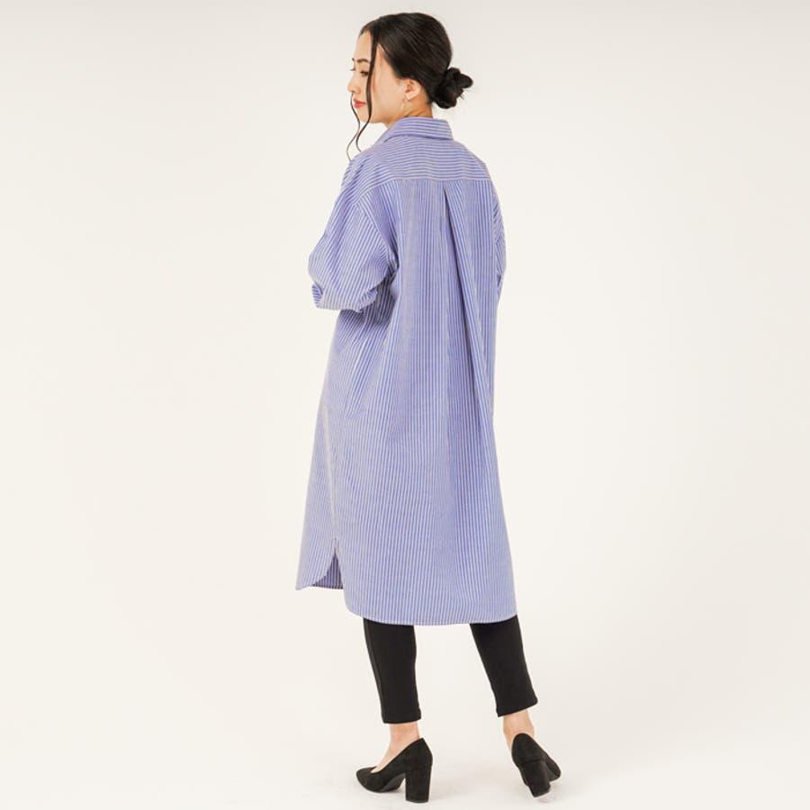 羽織り としても◎ ストライプ 柄 布帛 生地 ビッグ シルエット 長袖 レディース ロング シャツ ワンピース (3カラー) 3