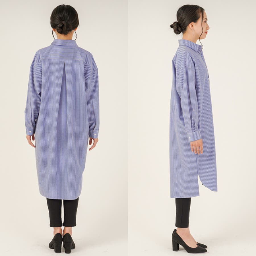 羽織り としても◎ ストライプ 柄 布帛 生地 ビッグ シルエット 長袖 レディース ロング シャツ ワンピース (3カラー) 5