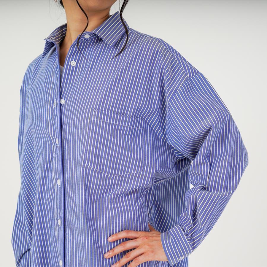 羽織り としても◎ ストライプ 柄 布帛 生地 ビッグ シルエット 長袖 レディース ロング シャツ ワンピース (3カラー) 7