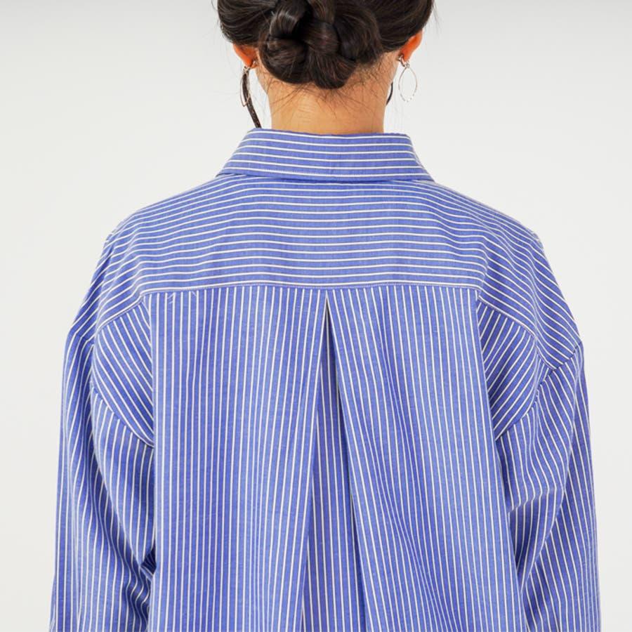 羽織り としても◎ ストライプ 柄 布帛 生地 ビッグ シルエット 長袖 レディース ロング シャツ ワンピース (3カラー) 8