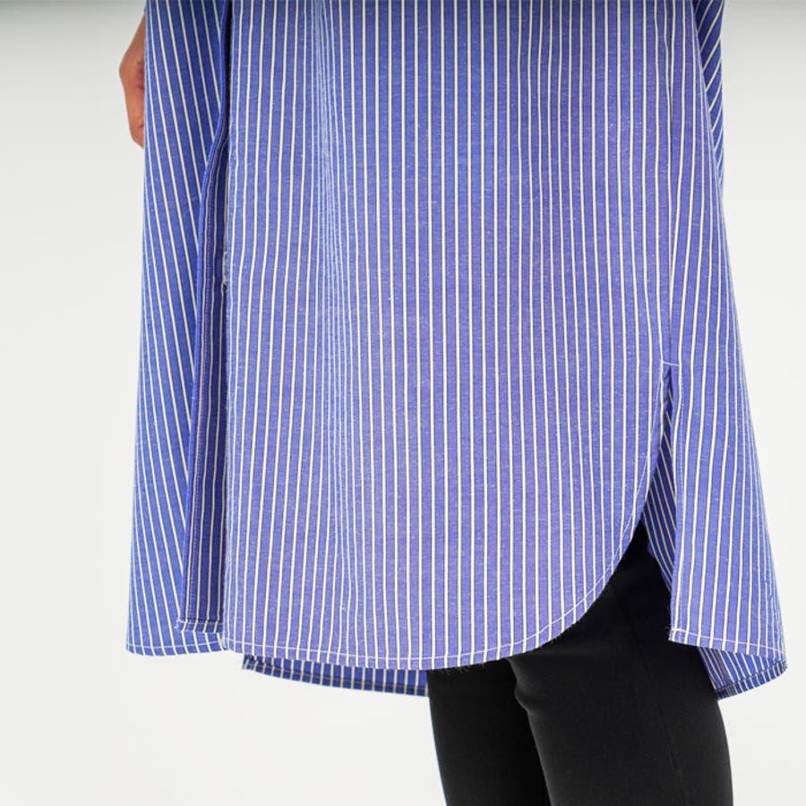 羽織り としても◎ ストライプ 柄 布帛 生地 ビッグ シルエット 長袖 レディース ロング シャツ ワンピース (3カラー) 9