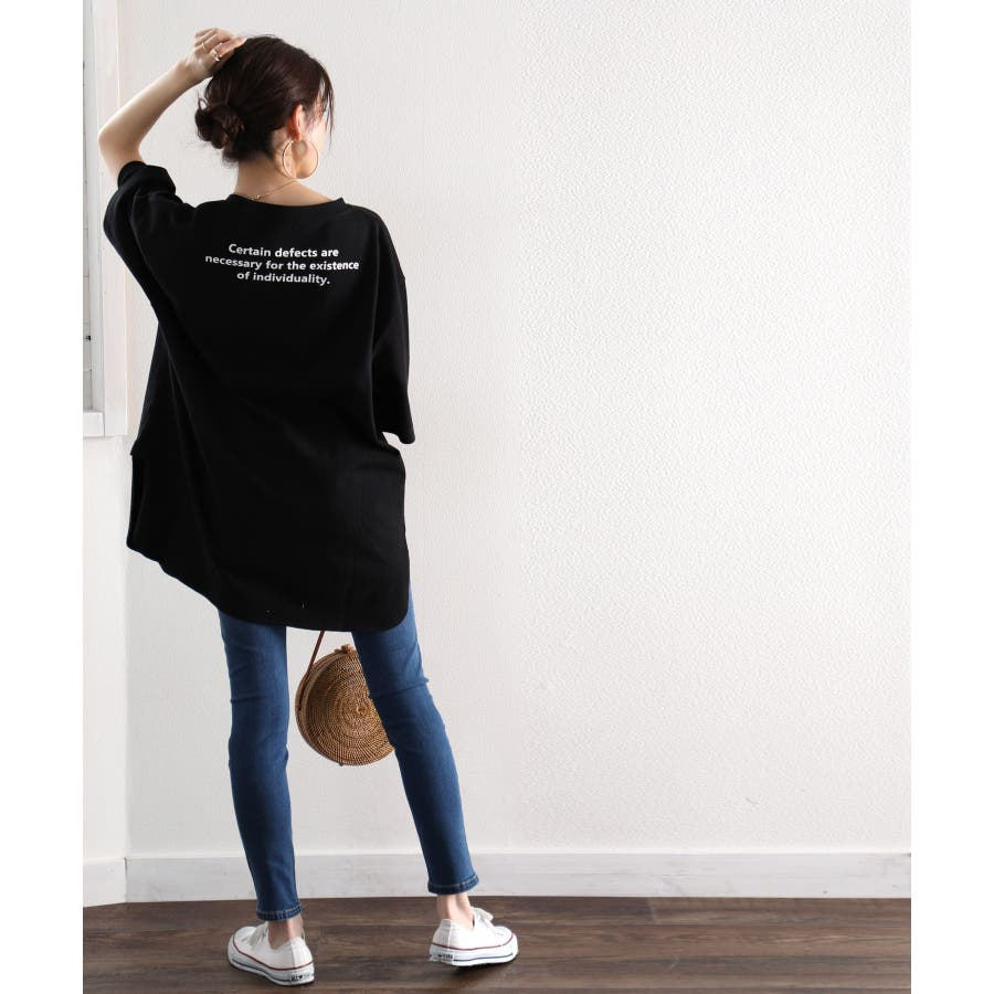 Tシャツ ロング丈 サイドスリット バックプリント 空紡糸 ビッグシルエット オーバーサイズ 綿100% コットン トップスカットソー 体型カバー レディース 白 ホワイト 黒 ブラック ベージュ ブラウン 春 夏 シンプル 半袖 綿 大きいサイズcli1002 21