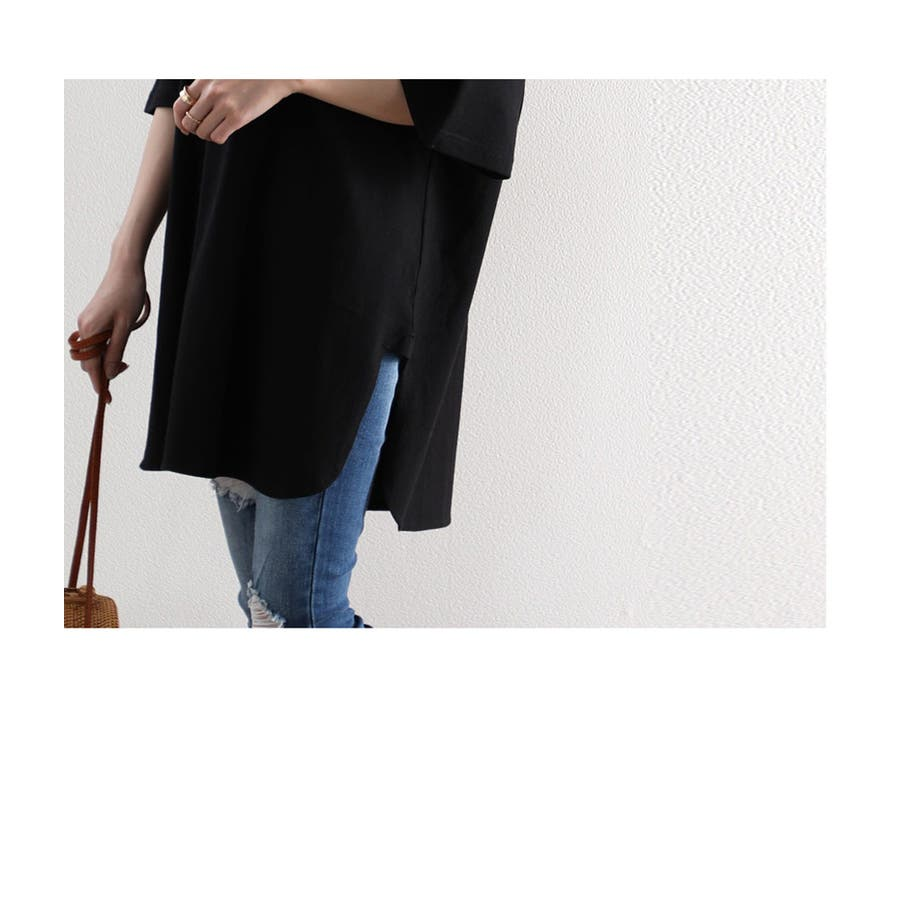 Tシャツ ロング丈 サイドスリット バックプリント 空紡糸 ビッグシルエット オーバーサイズ 綿100% コットン トップスカットソー 体型カバー レディース 白 ホワイト 黒 ブラック ベージュ ブラウン 春 夏 シンプル 半袖 綿 大きいサイズcli1002 7