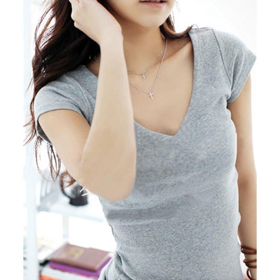 選べる2タイプのセレブ風無地Tシャツ デニムとの相性◎Tシャツ レディース 23