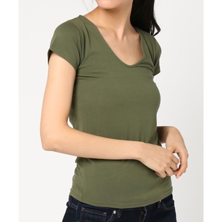 選べる2タイプのセレブ風無地Tシャツ デニムとの相性◎Tシャツ レディース 53
