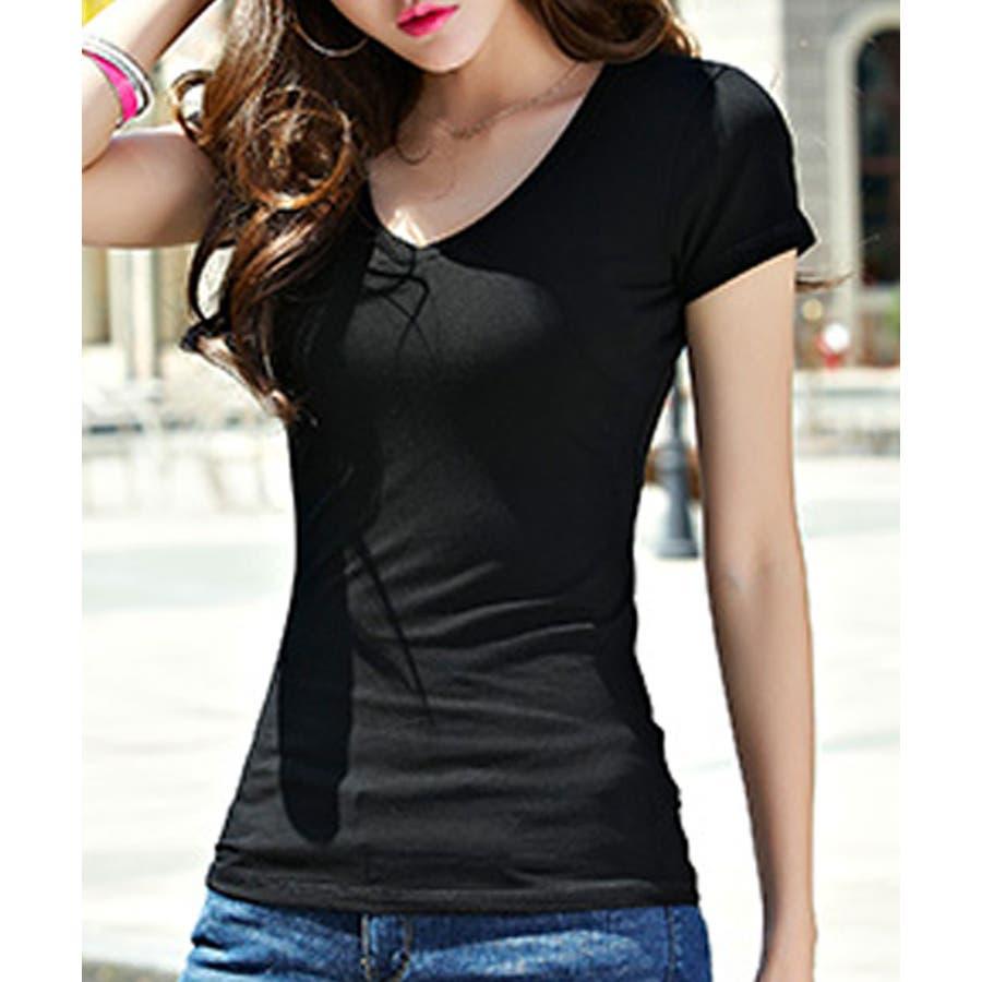 選べる2タイプのセレブ風無地Tシャツ デニムとの相性◎Tシャツ レディース 21