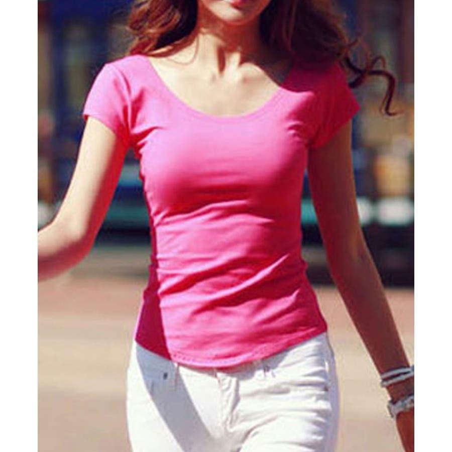 選べる2タイプのセレブ風無地Tシャツ デニムとの相性◎Tシャツ レディース 91