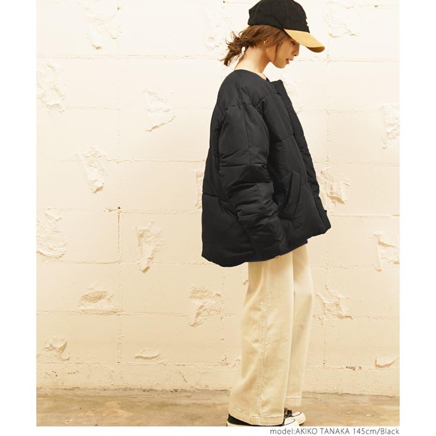 ショート丈ノーカラーフェイクダウンジャケット/田中亜希子さん着用(アウター 羽織り 中綿 無地 長袖 ジャンパー 19aw cocaコカ) 9