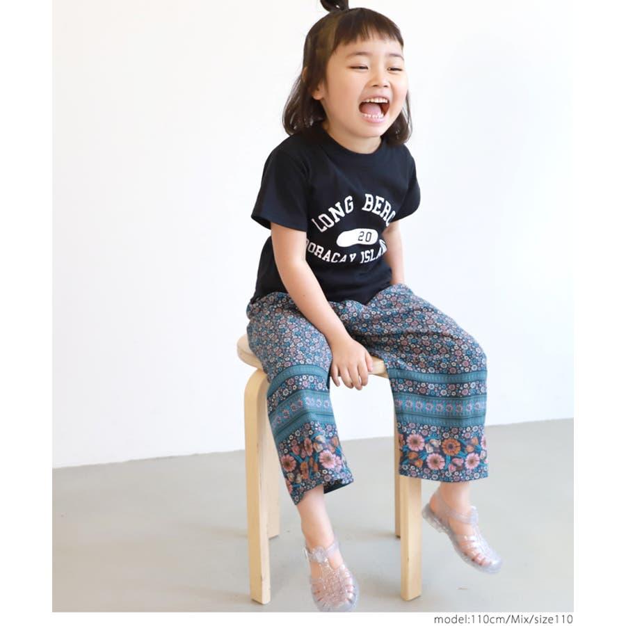 【キッズ100-130】子供服 ロングパンツ ワイドパンツ とろみ 花柄 長ズボン 女の子 100cm 110cm120cm130cm coca コカ 9