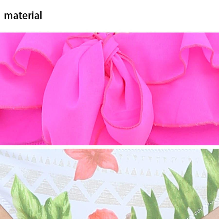 夏物最終 フリル バンドゥ ホルター ビキニ 2点セット 水着 大きいサイズ ピンク ヤシの木 花柄 フラワー サイドリボン紐パンレディースクロスデザイン 上下別 オフィス 8