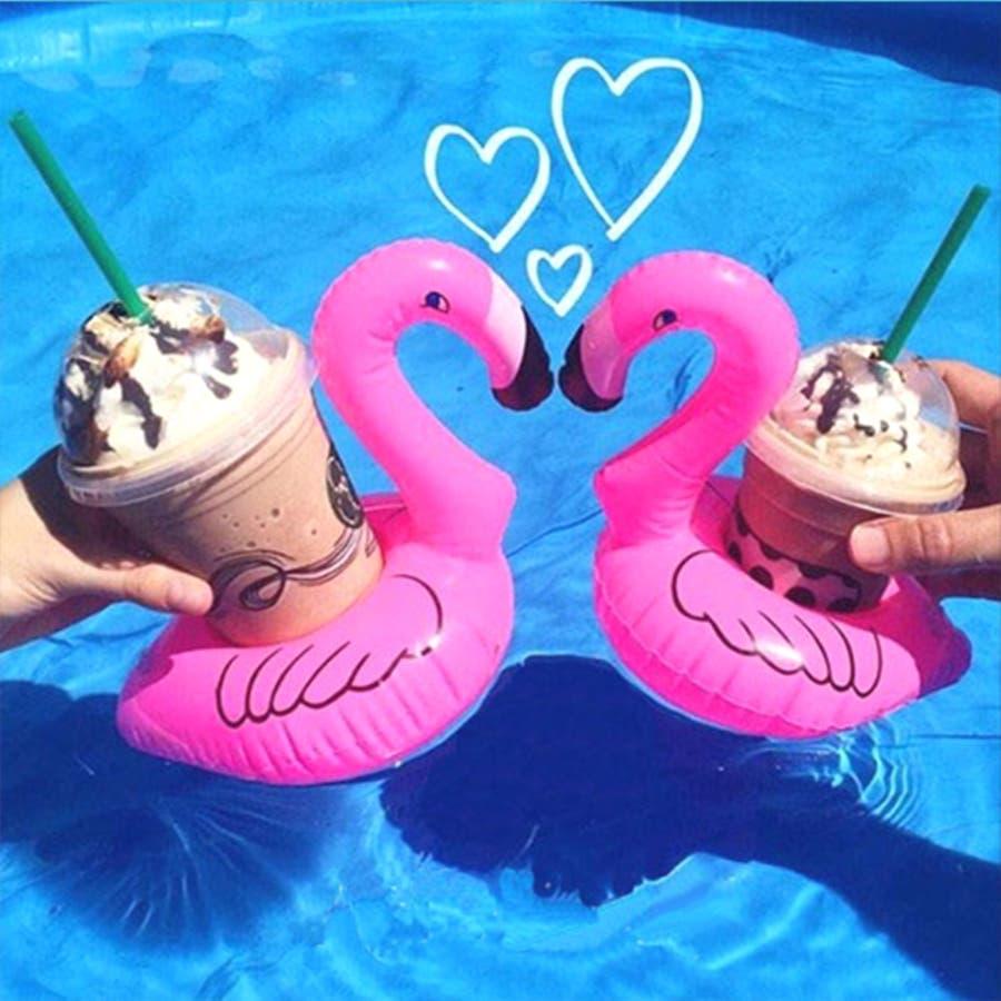 秋新作 フラミンゴ ドリンクホルダー ma フラミンゴ 浮き輪 ドリンク 携帯 ビーチ プール かわいい 浮き輪 大人 3