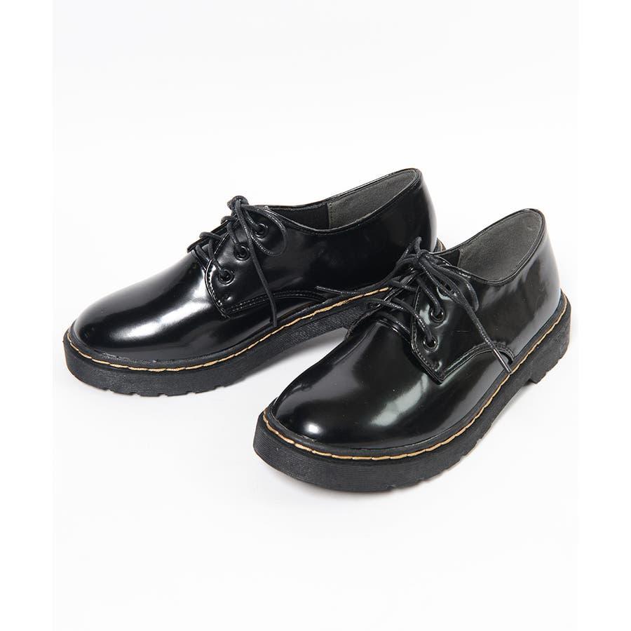 秋新作 レースアップブーツ  靴 ブーツ ブラック ローヒール フラット マーチン風 レディース 21