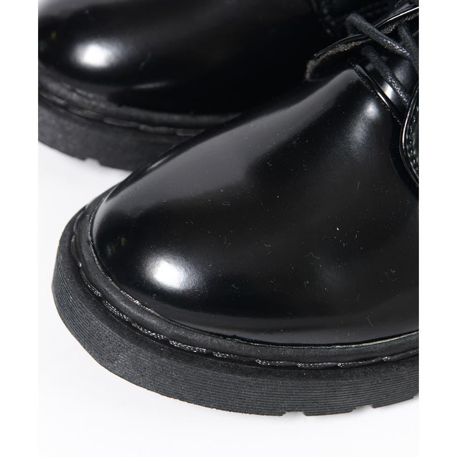 秋新作 レースアップブーツ  靴 ブーツ ブラック ローヒール フラット マーチン風 レディース 7